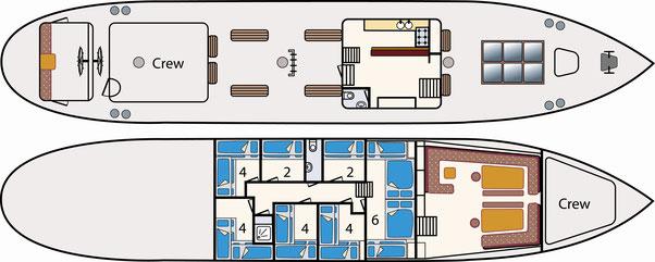 3-Mast-Gaffelschoner Albert Johannes Kabinenplan