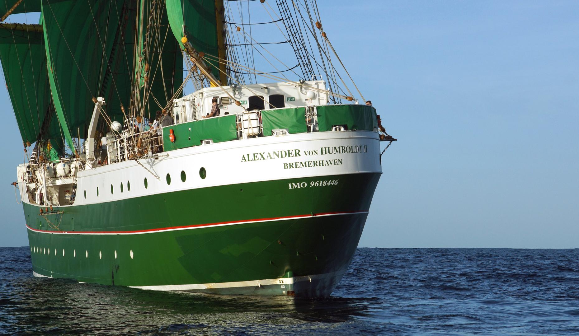 """3 Mast Bark """"Alexander von Humboldt 2"""" Heckansicht"""