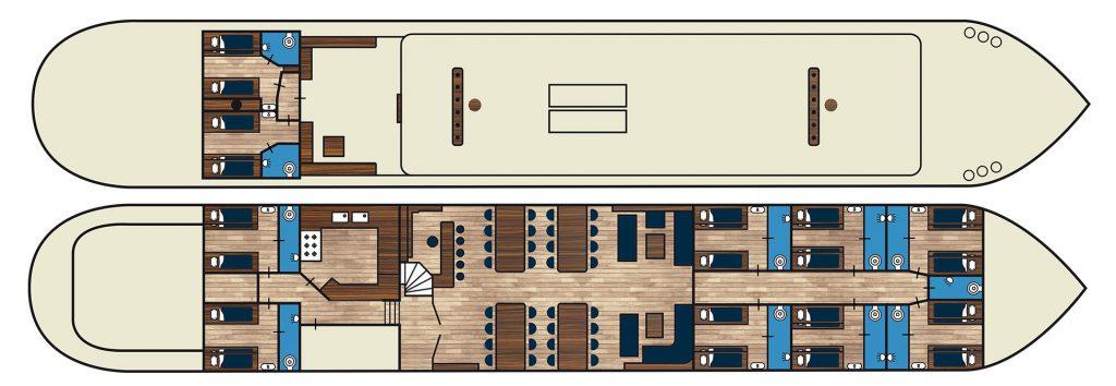 3 Mast Klipper ELIZABETH Kabinenplan