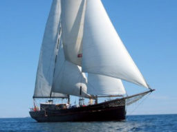 Segelreisen Europa ETHEL VON BRIXHAM Produktbild zeigt den 2 Mast Stagsegelschoner unter Segel