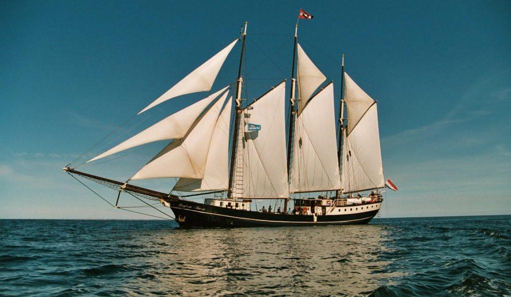 Meilentörns: Regina Maris Produktbild zeigt den 3 Mast Gaffelschoner von Steuerbord unter Segeln