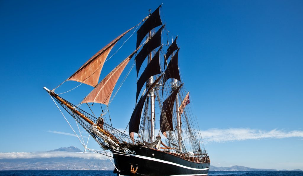 Hanse Sail Rostock: EYE OF THE WIND Produktbild zeigt die Brigg mit den braunen Segeln vom Bug her