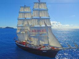 Wochenende an der Jade: Brigg MERCEDES Produktbild zeigt die stolze Brigg unter vollen Segeln