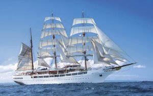 Segelreisen Karibik Sea Cloud 2 zeigt das Vollschiff unter Segeln