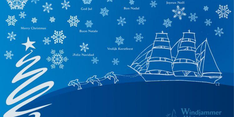 Merry Christmas Bild von Windjammer Weltweit in Form eines handgemalten Schiffes