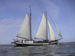 zeigt den 2 Mast Klipper Ambulant segelnd von Steuerbord