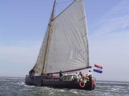 Ontmoeting Portfoliobild zeigt die Tjalk von Backbord unter Segeln.