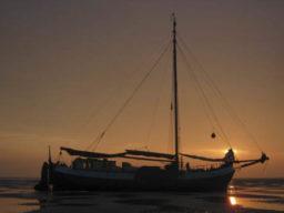Segeln und Radfahren Niederlande zeigt die Confiance vor Sonnenuntergang