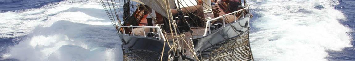 Segelrevier Golf von Mexiko Bild zeigt Bugansicht von Traditionsschiff