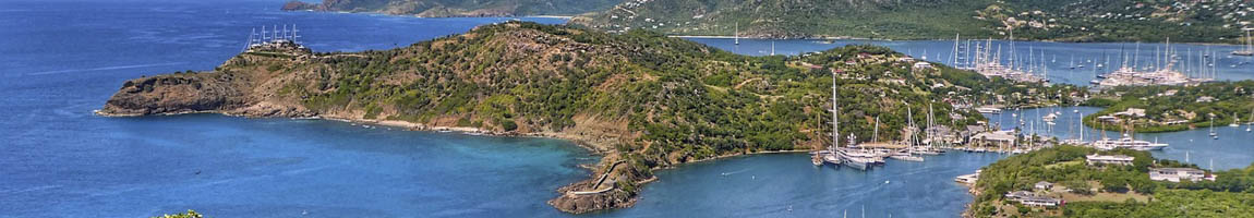 Segeltörn Antigua Bild zeigt die Inselhauptstadt aus der Luft