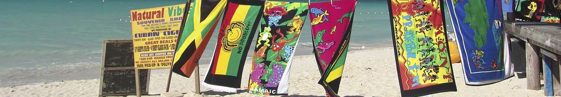 Segeltörn Jamaica Bild zeigt bunte Handtücher am Strand