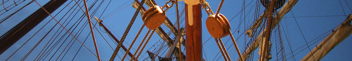 Seereisen Spanien Bild zeigt Detaills der Masten einer Windjammer