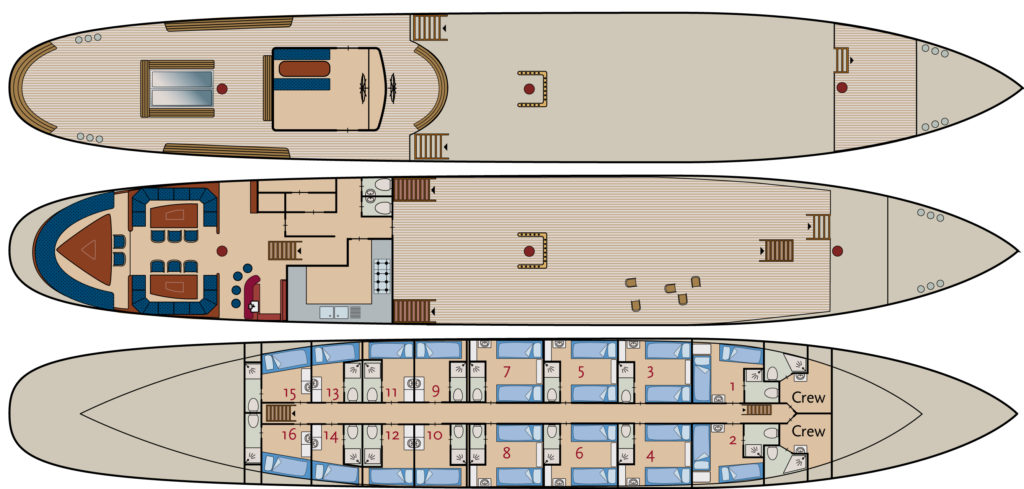 Barkentine Antigua Kabinenplan