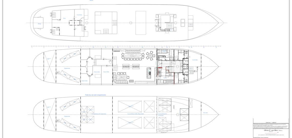 Segelschiff Oosterschelde Decksplan