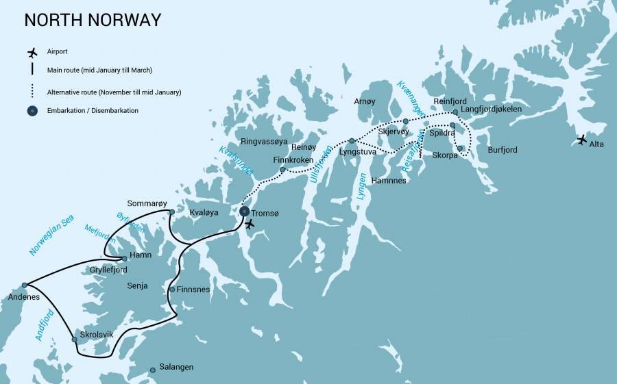 Reiseroute Nord Norwegen zeigt einen Kartenausschnitt