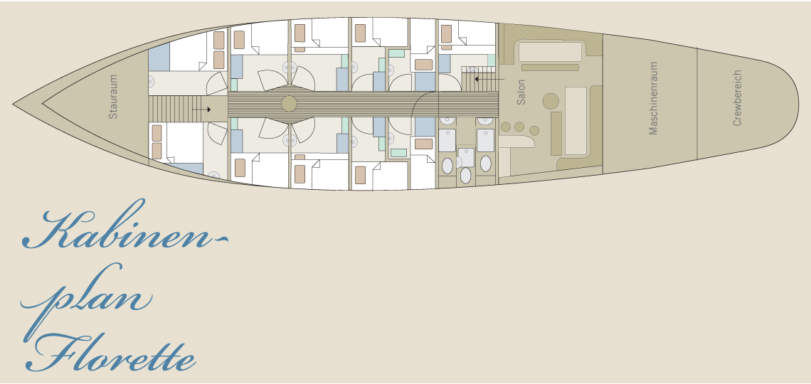 Kabinenplan der Brigantine Florette
