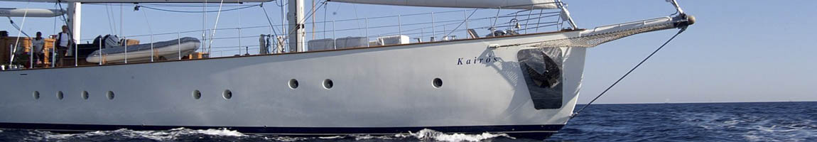 Yachtcharter Segelschiffe zeigt Detail der Segelyacht Kairos