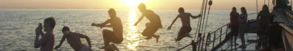 Segeltour buchen Bild zeigt ins Wasser springende Segler