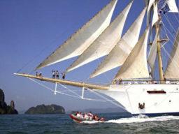 Segelkreuzfahrt Kykaden - zeigt Star Flyer mit Tender Boat