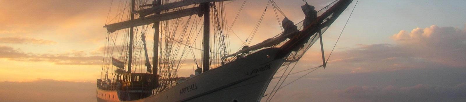 Segeltörn Traditionssegler zeigt Artemis im Sonnenuntergang