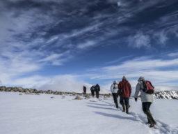 Wandern und segeln Bild zeigt Wanderer in Nord Norwegen