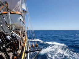 Atlantiküberquerung mitsegeln zeigt das Segelschiff in Aktion