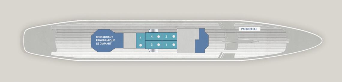 Le Ponant Segelyacht Kabinenplan Antigua Deck