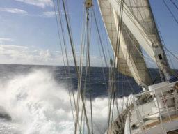The Tall Ships Races auf der Eendracht zeigt das Schiff segelnd