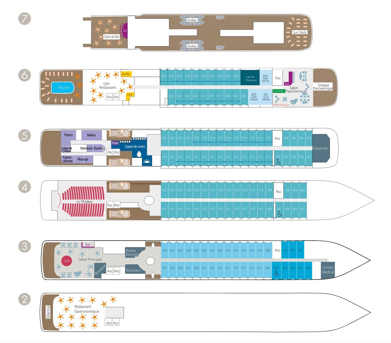 L'AUSTRAL Decksplan als Zeichnung