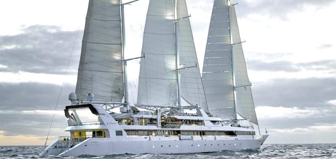 Luxuskreuzfahrten buchen zeigt das Segelschiff Le Ponant