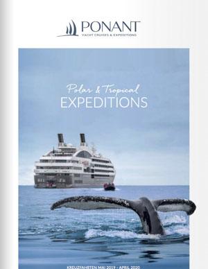 Ponant Expeditionen Katalog zeigt eine Walfischflosse vor einer Megayacht
