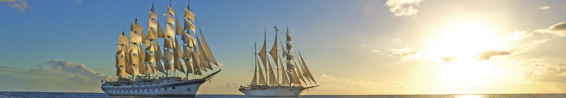 Segelkreuzfahrten Bild zeigt die Star Clipper und die Royal Clipper