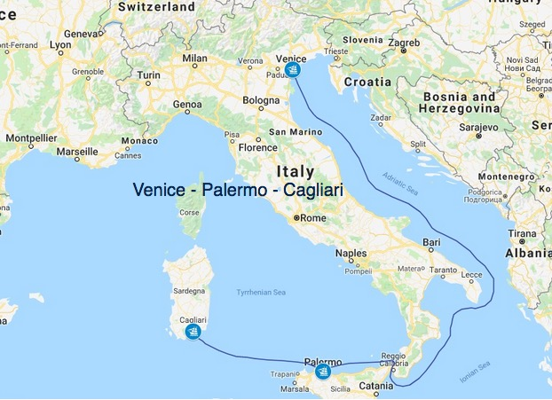Route Venedig Cagliari zeigt Kartenausschnitt