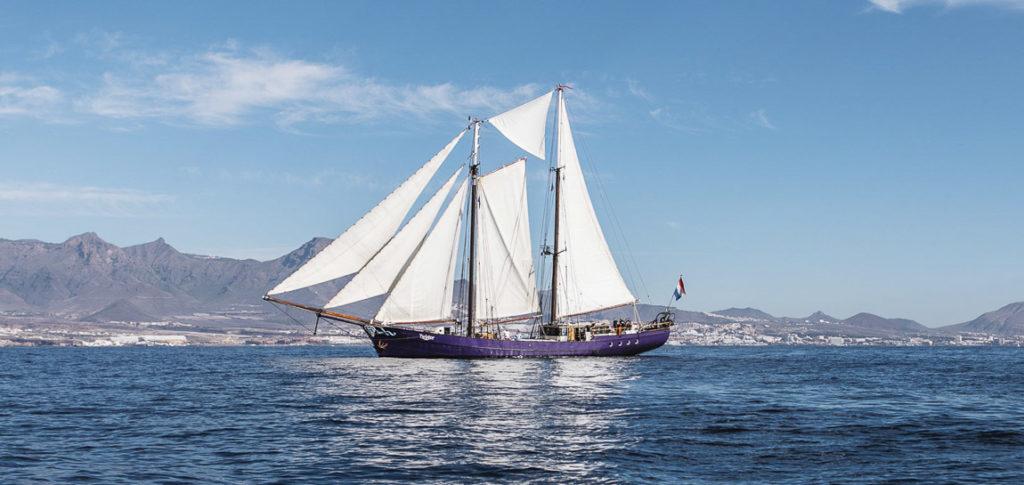 2 Mast Schoner Twister vor Teneriffa segelnd