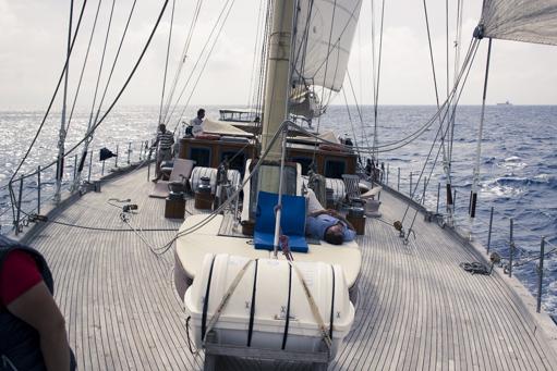 Atlantiküberquerungen zeigt das Deck der Chronos