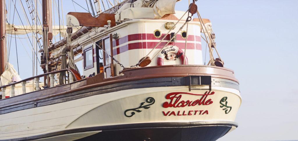 Heckdetail Segelschiff Florette