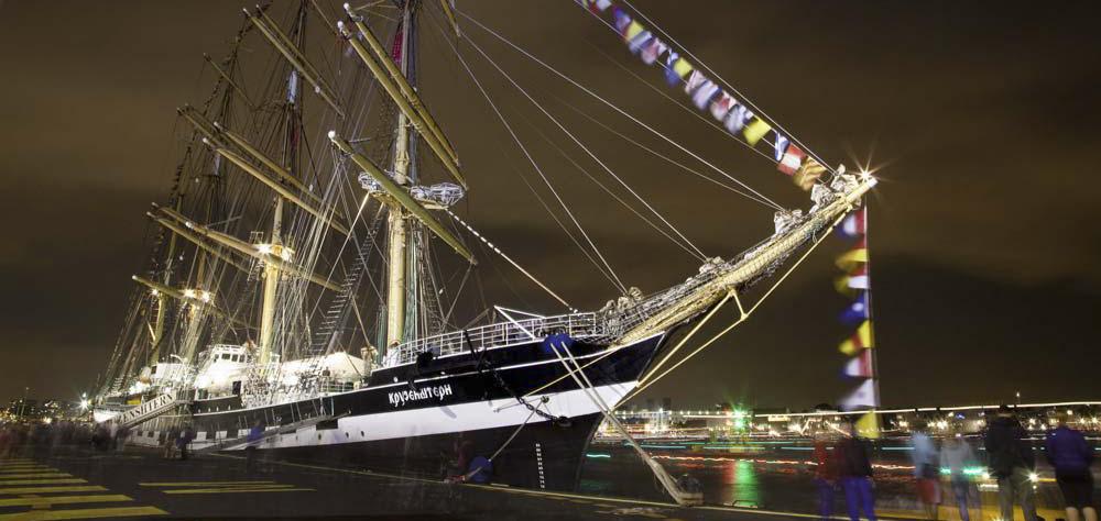 Segelschiff Kruzenshtern am Kai