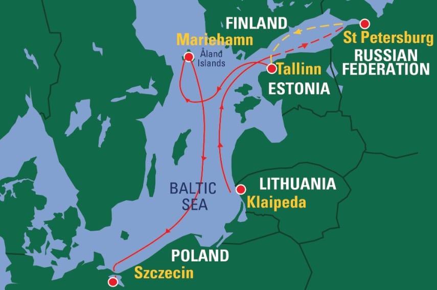Karte des Routings der Tall Ships Races 2021