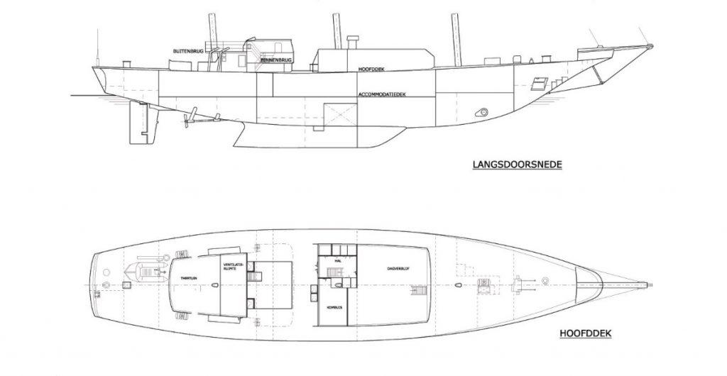 3 Mast Gaffelschoner Eendracht Kabinenplan
