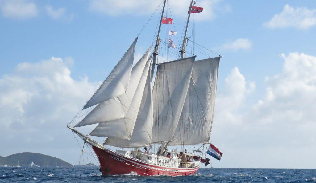 2 Mast Gaffelschoner Eldorado, unter Segeln