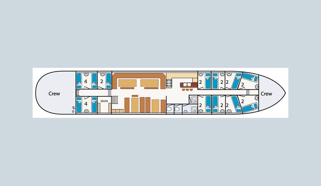 2 Mast Klipper Nordvaarder Kabinenplan