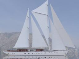 """Segelreisen Karibik Rhea Produktbild bild zeigt Stagsegelketsch """"Rhea"""" Seitenansicht"""