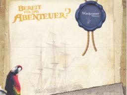 Wertgutschein Produktbild zeigt eine Schtazkarte mit Segelschiff und Papagei