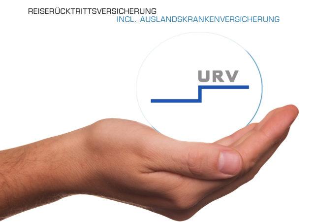 Reiserücktritt- und Auslandskrankenschutz Produktbild zeigt das Logo der URV auf einer ausgestreckten Hand