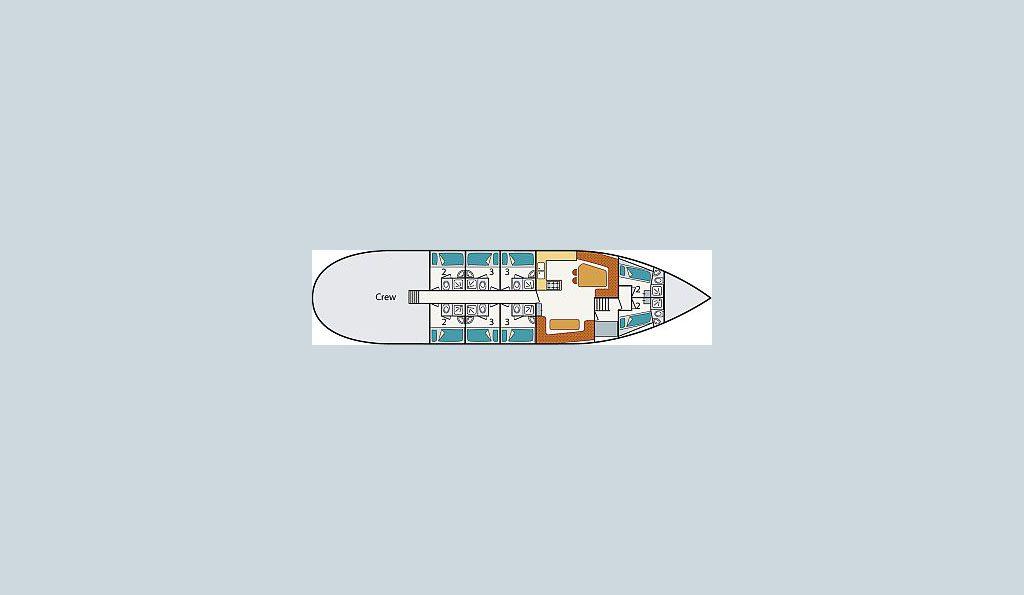 2 Mast Logger Tecla, Kabinenplan